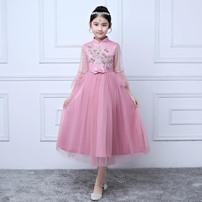 3cfa6a94eaf61 2018 Spring And Summer Children Chinese Costume Cheongsam Girls Big Boy  Gauze Long Skirts Guzheng gang qin biao Costume Formal Dress