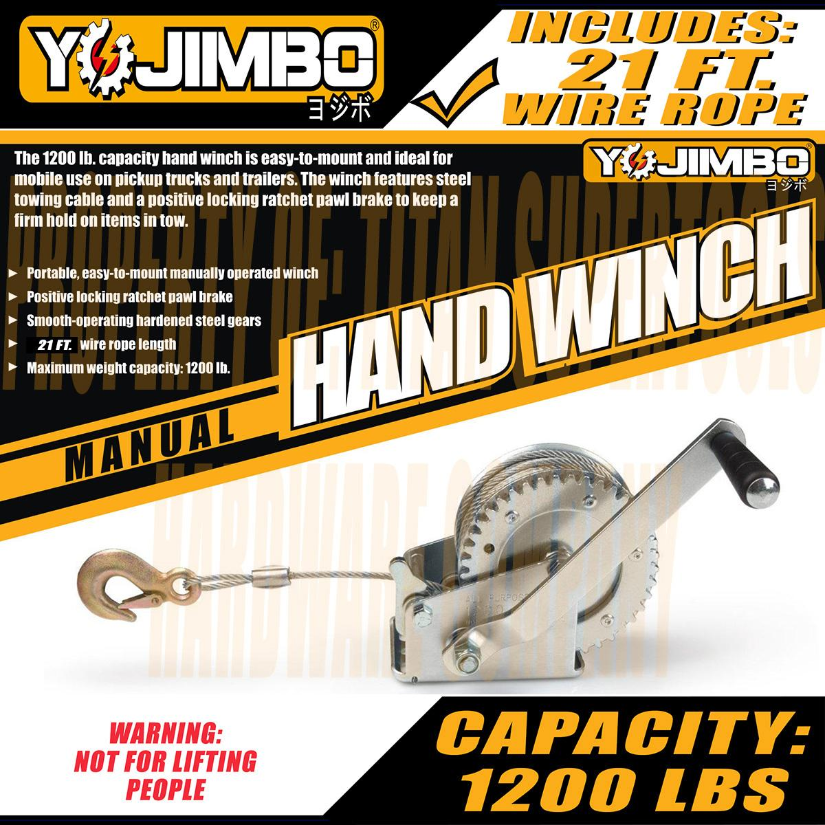 Yojimbo YJ-HW10M 1200 Lb. Manual Hand Winch