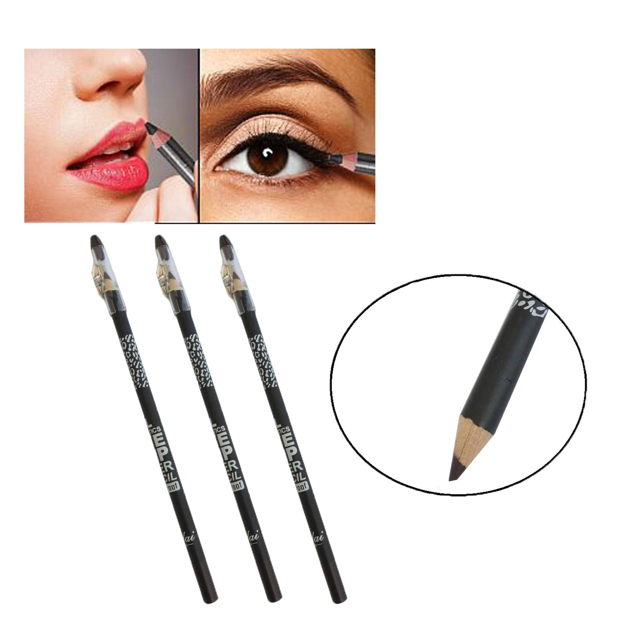 PHSUPERMALL 3 Pcs. MILAI Perfect Waterproof Lip & Eye Liner Pencil with SharpenerEye Makeup (Dark Brown) 21g Philippines