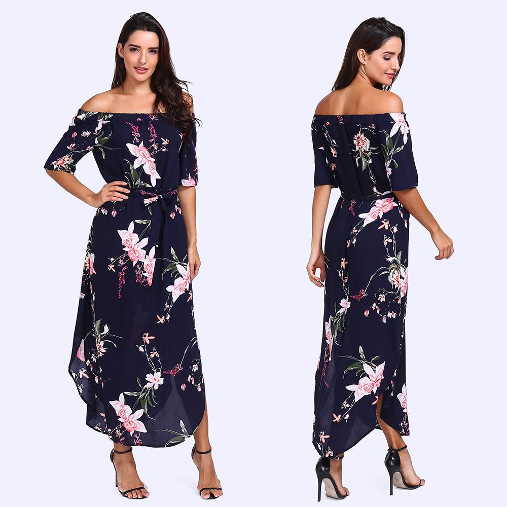 65d6e9ad199 Aiipstore Women Off Shoulder Short Sleeve Printed Dress Loose Party Dress  Sundress