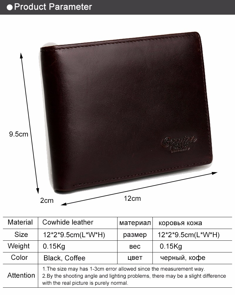 Genuine Leather Men Wallets Leather Man Short Wallet Vintage Coffee Intl