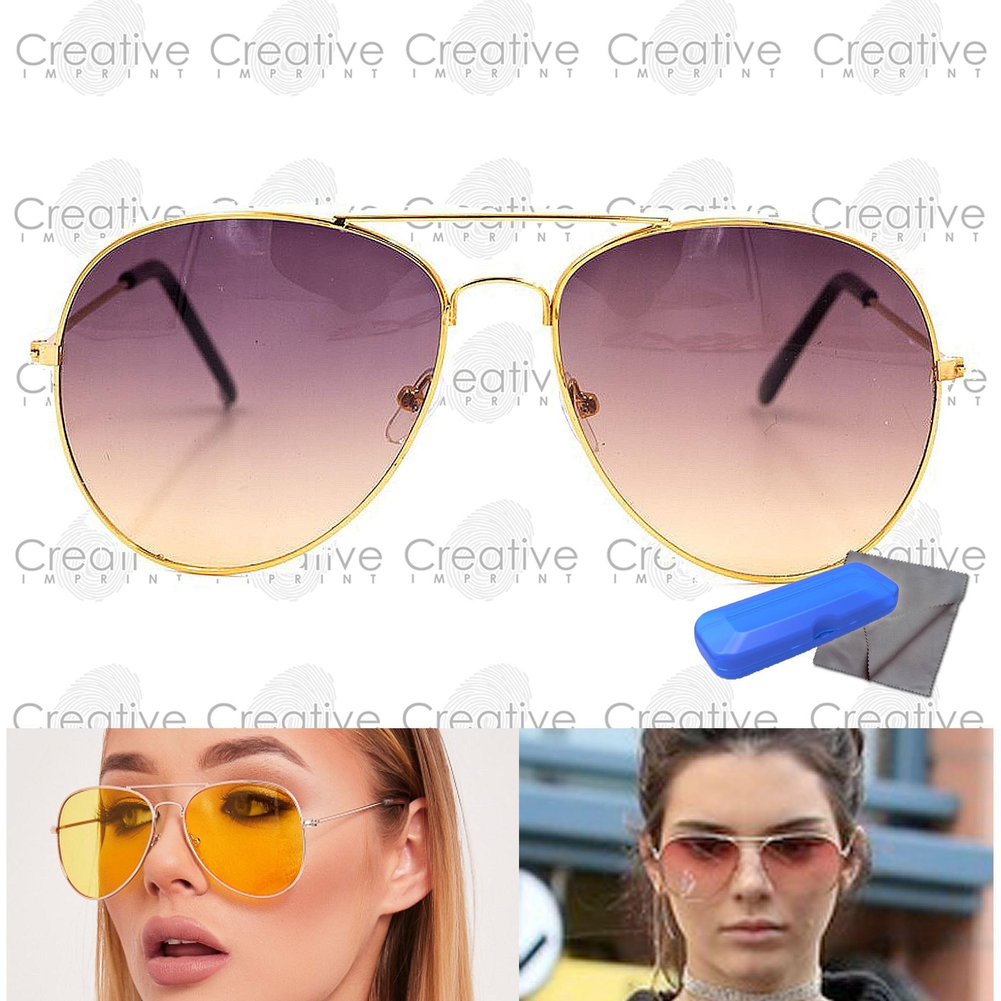 c91fd4b0446 Creative Imprint Aviator Tinted Lens Two-Tone Gradient Teardrop Sunnies  Trendy Fashion Sunglasses Shades Eyewear