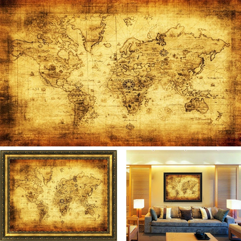 Vintage style cloth poster globe old world nautical map yellow vintage style retro cloth poster globe old world nautical map gifts gumiabroncs Image collections