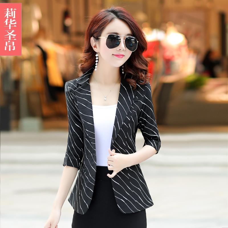 Casual motif garis Setelan jas kecil jaket wanita musim panas Versi Santai Korea model pendek musim gugur Elegan lengan tanggung Setelan jas mini membentuk tubuh - 3