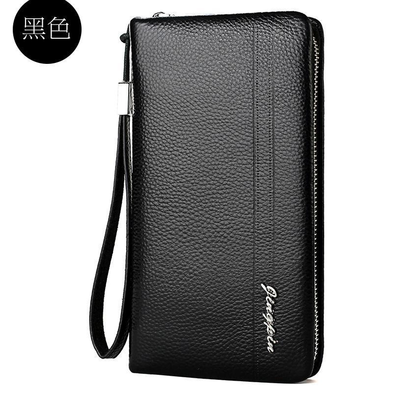 Leather Handbag Men Clutch Full-grain Leather Mens Bag Zipper Wallet Long Mens Handbag Business Casual