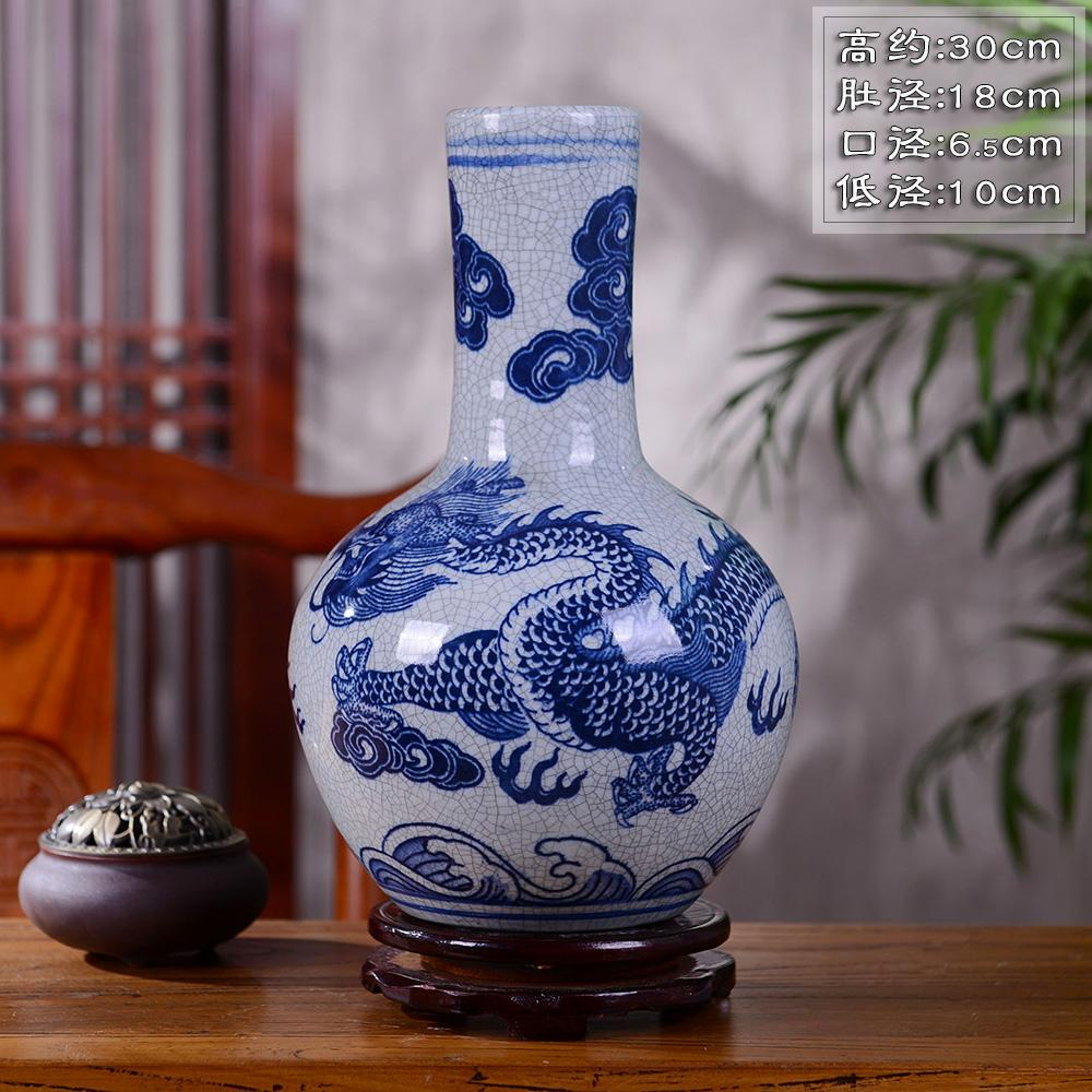 Jingdezhen Ceramic Vase Decoration Living Room Flower Arrangement Vintage Dragon Blue And White Porcelain Chinese Style Home Decoration Zen Asian Creative Luxury Art Works