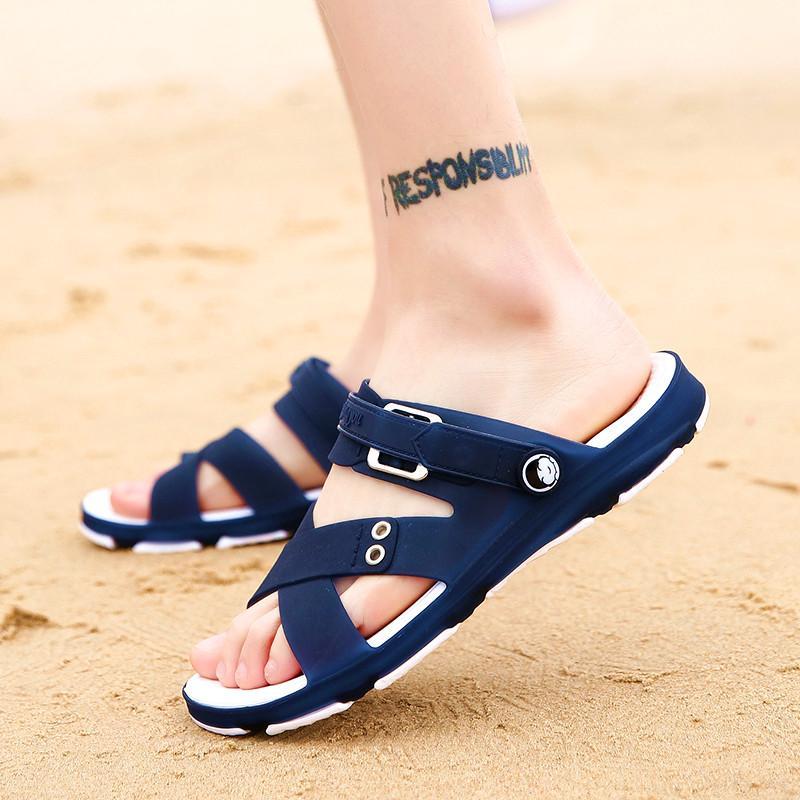 2018 model baru musim panas Pria Sandal Summer casual Sandal pantai Anti Selip Anti Bau murid sandal dwiguna diluar ruangan sepatu berlubang - 4