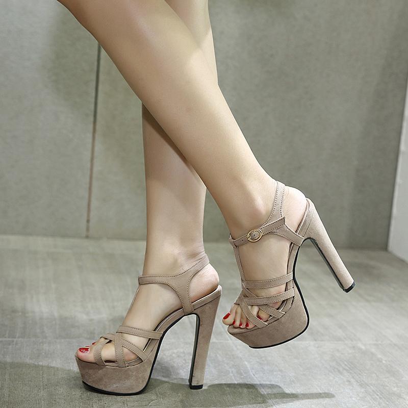 f5ed88e0a2e Fashion Women's High Heel Sandals T-strap Platform Sandals Summer Shoes  Party Dress Shoes