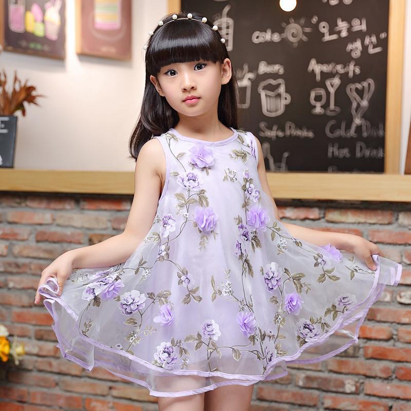 ... Rok Tanpa Lengan Gadis Tiga. Source · Korea Modis Gaya Kain Organza Baru Children Wanita Yang Bermoral Bunga Gaun Gaun (Kain Organza
