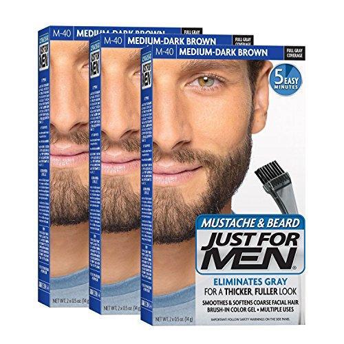 Just For Men Mustache & Beard Brush-In Color Gel, Medium-Dark Brown (pack Of 3, Packaging May Vary) By Galleon.ph.