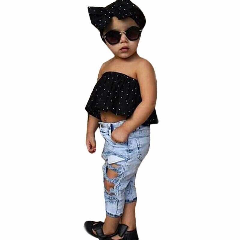 5451e21982bcf Infant Baby Girls Clothes Sets Dot Sleeveless Tops Vest Hole Denim ...