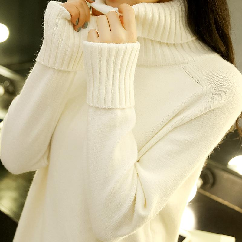 d9557b76eace High Collar Sweater Women s Dress Spring Clothing New Style 2019 Korean  Style Loose Pullover Knit Low