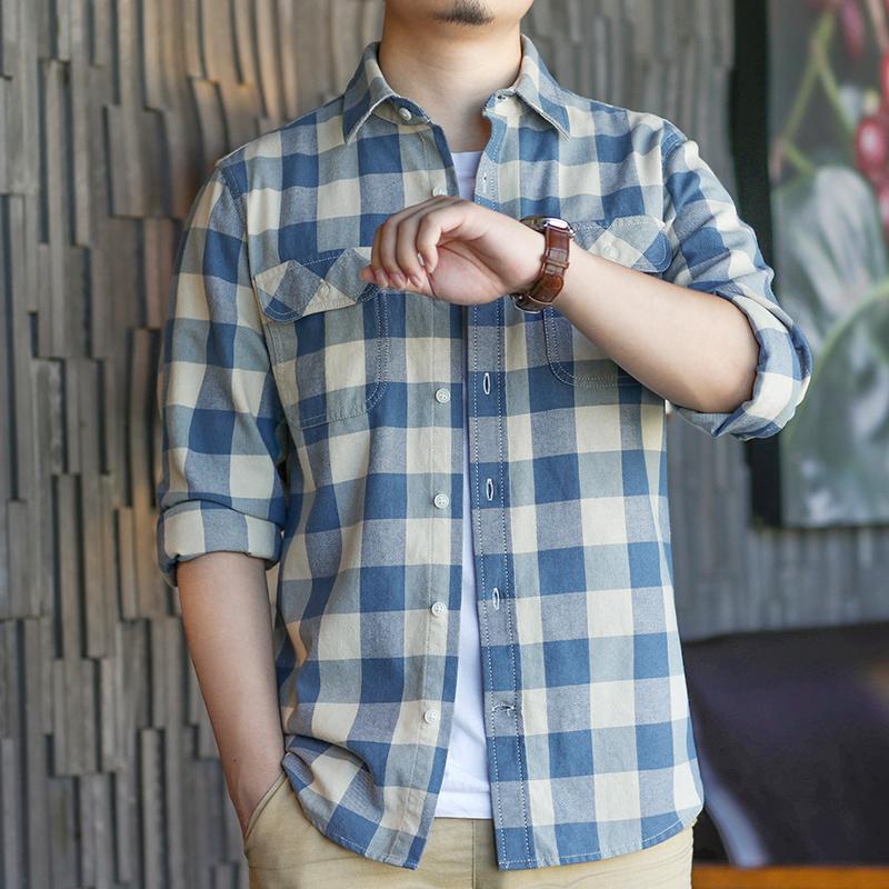 Falanwang Kotak-Kotak kemeja pria Lengan panjang musim semi anak muda Gaya Hong Kong Gaya