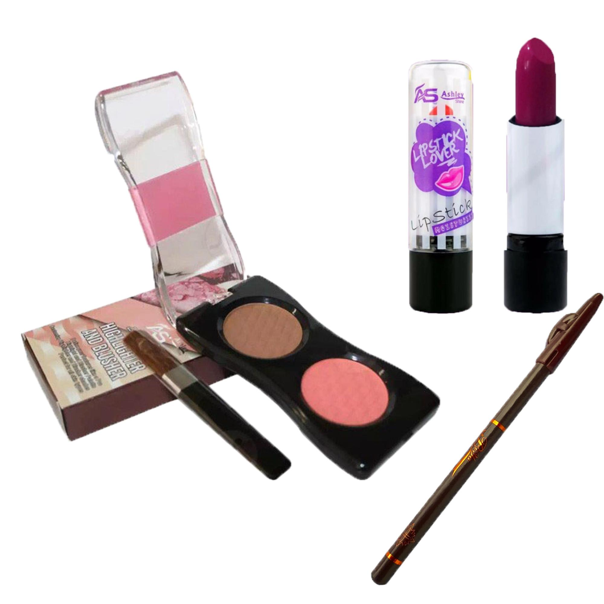 AS 2 in 1 Makeup Palette Highlighter & Blusher #01 8g + Lipstick FREE 1 Eyeliner 100g Philippines