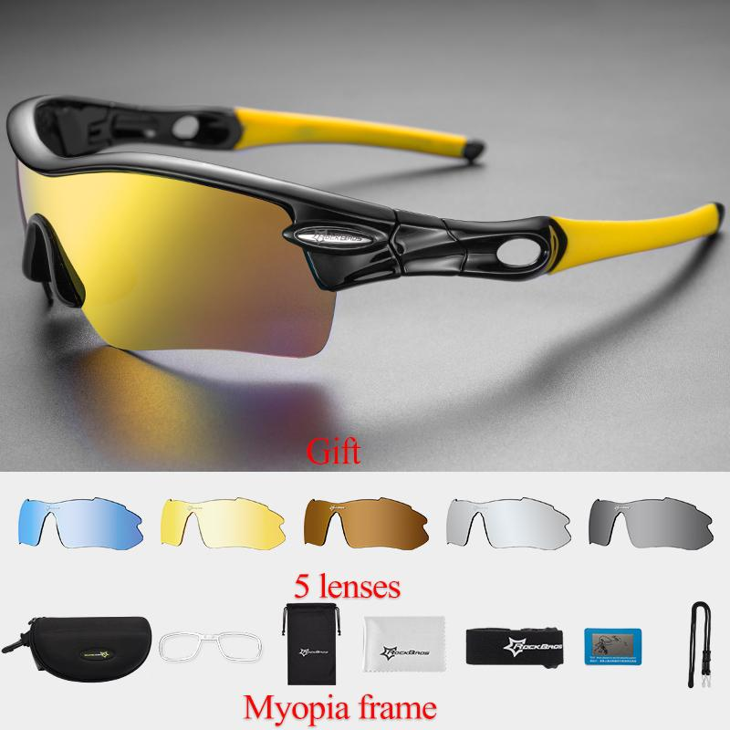 RockBros Polarized Cycling Sports Sunglasses with 5 Pairs of Lenses (Yellow) - intl