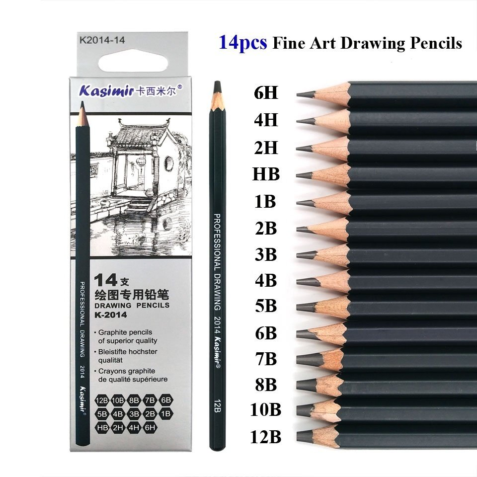 Best quality 14pcs set 12b 10b 8b 7b 6b 5b 4b 3b 2b b hb 2h 4h 6h graphite sketching pencils professional pencil set for drawing intl