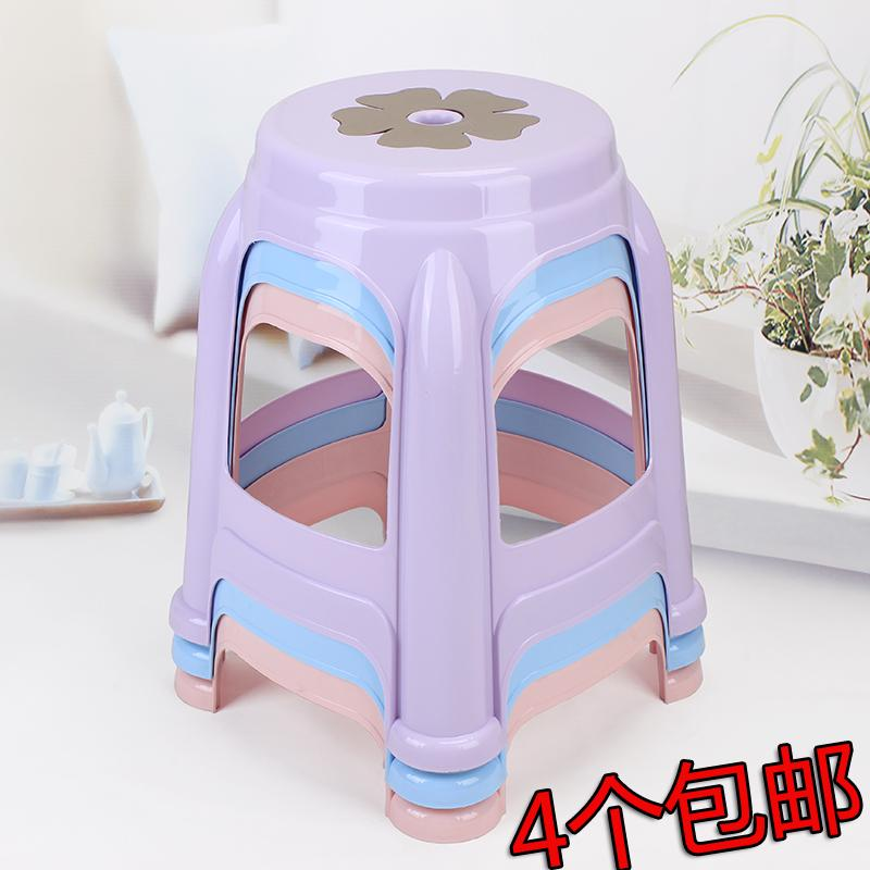 Plastic Stool Thick Adult Household Bar Stool Restaurant Chair Modern Garden Bench Fashion Cooked Glue round can zhuo deng