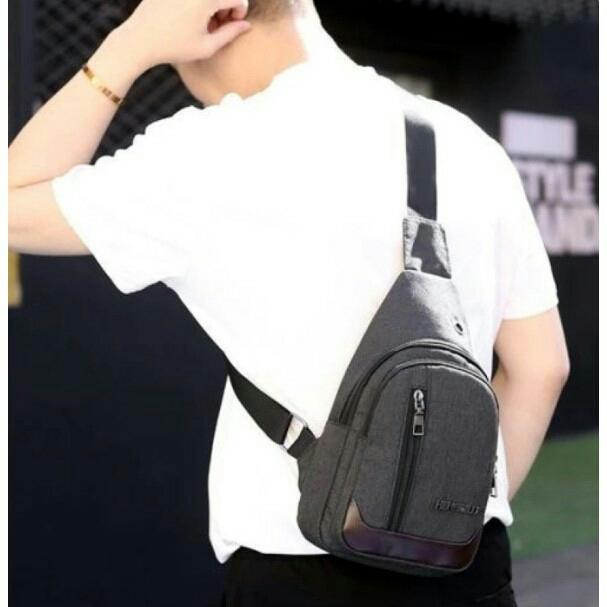 Anti Theft Chest Shoulder Sling Bag for Men with USB Port for Powerbank  Charging 9a872a39d73af