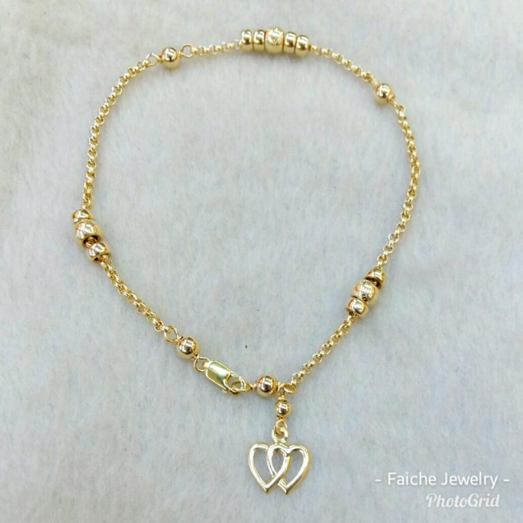 Authentic 10k Gold Bracelet With Double Heart
