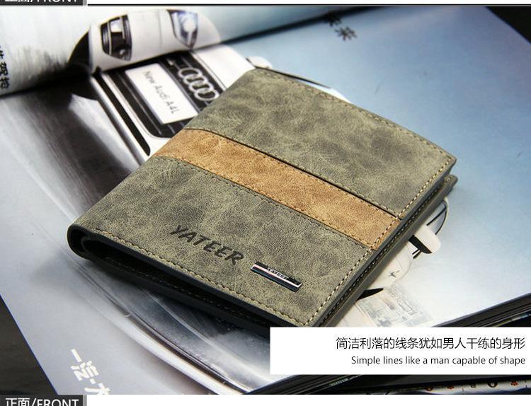 2016 baru mens dompet pendek penampang klip tiket warna disimpul matte kulit dompet pabrik penjualan langsung Magenta