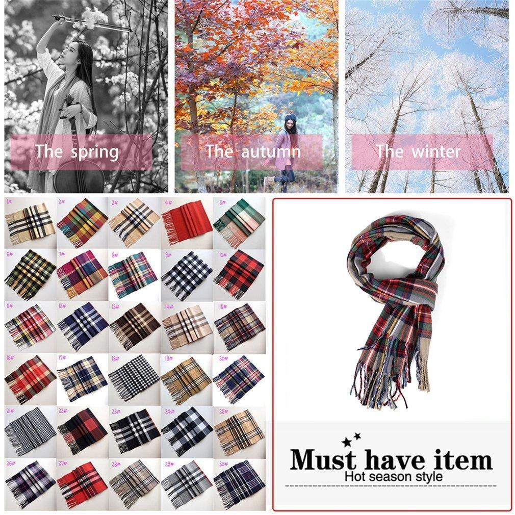 180X33 Cm Syal Hangat Warna-warni Kotak-kotak Pria dan Syal Wanita Fashion Rumbai