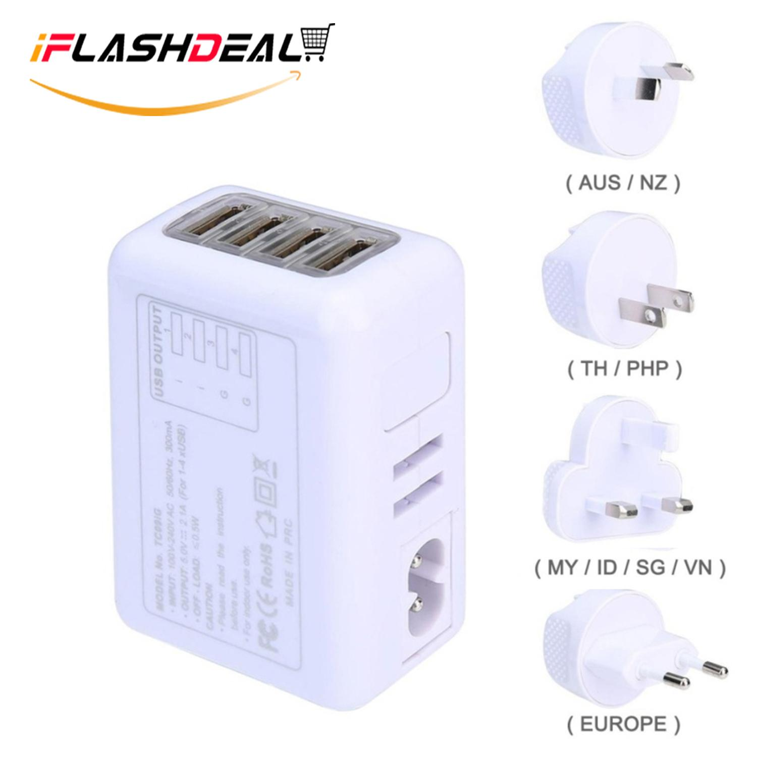 Iflashdeal Charger Kabel Universal International Travel Adaptor/colokan Listrik/charger All In One Free Travel Mini Cosmetic Bag By Iflashdeal.