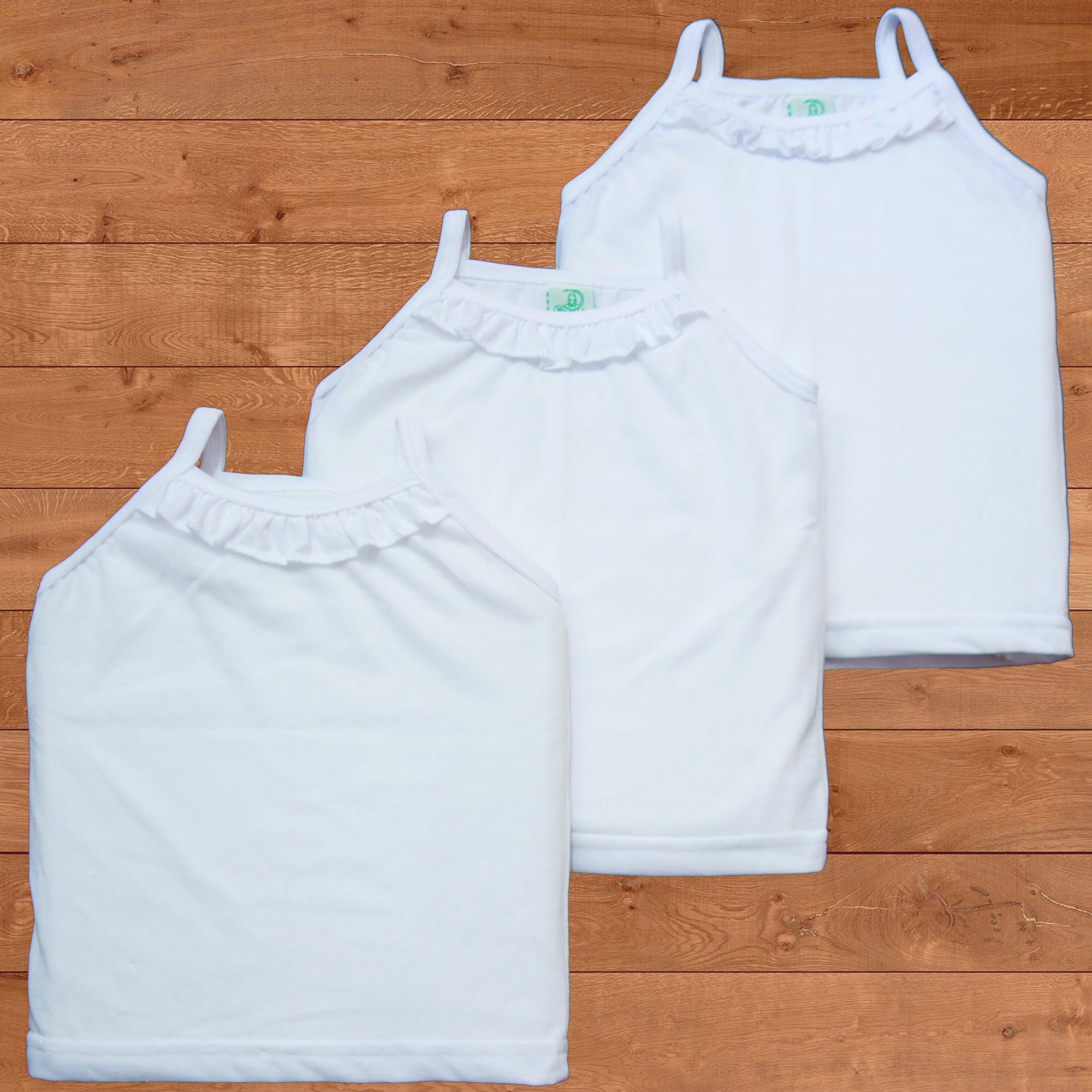 Froshie 3-Piece Baby Cotton Strappy Top (plain White) By Froshie.