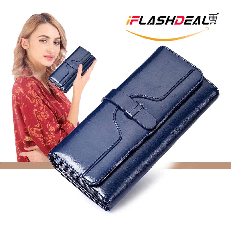 ac1d8c57ceba41 iFlashDeal Women Long Wallet Purse Card Holder PU Leather ladies wallet  Clutch Zipper Female Money Bag