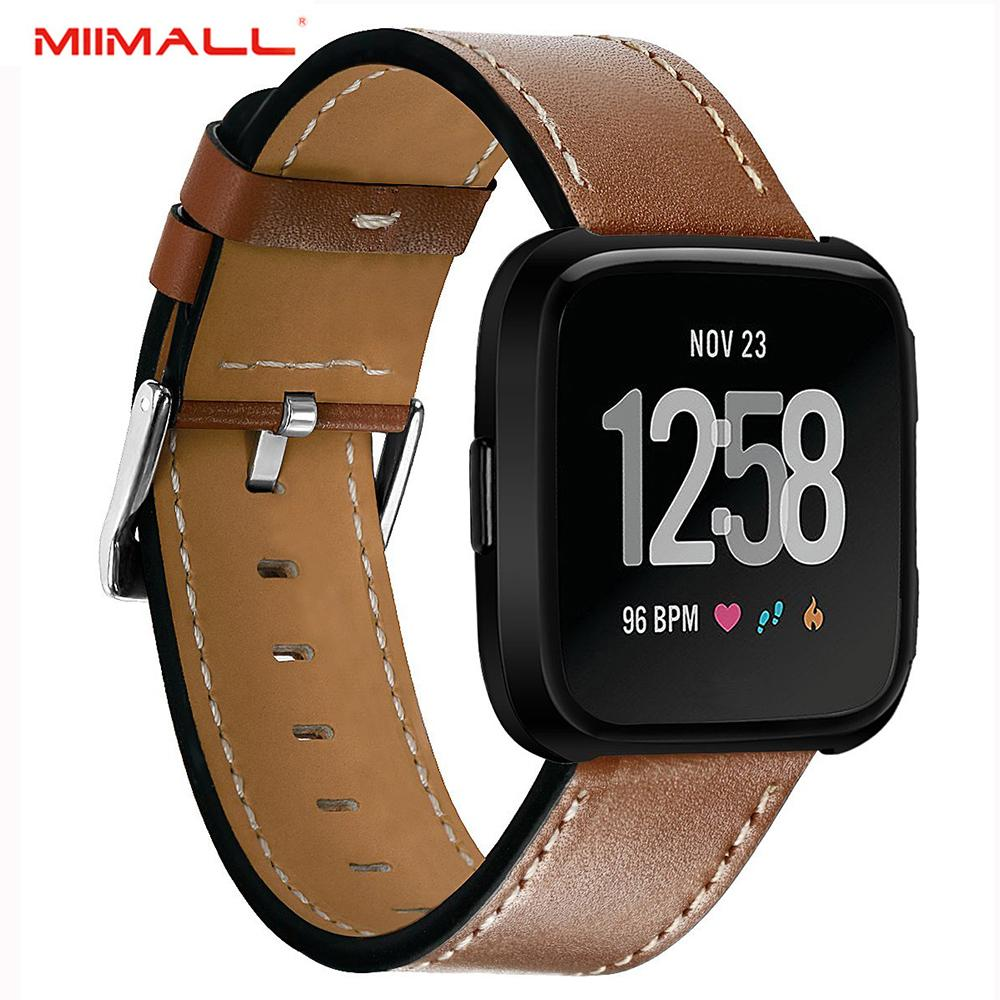 Miimall Fitbit Versa Band, Genuine Leather Replacement Wrist Band Watch Strap with Stainless Steel Buckle