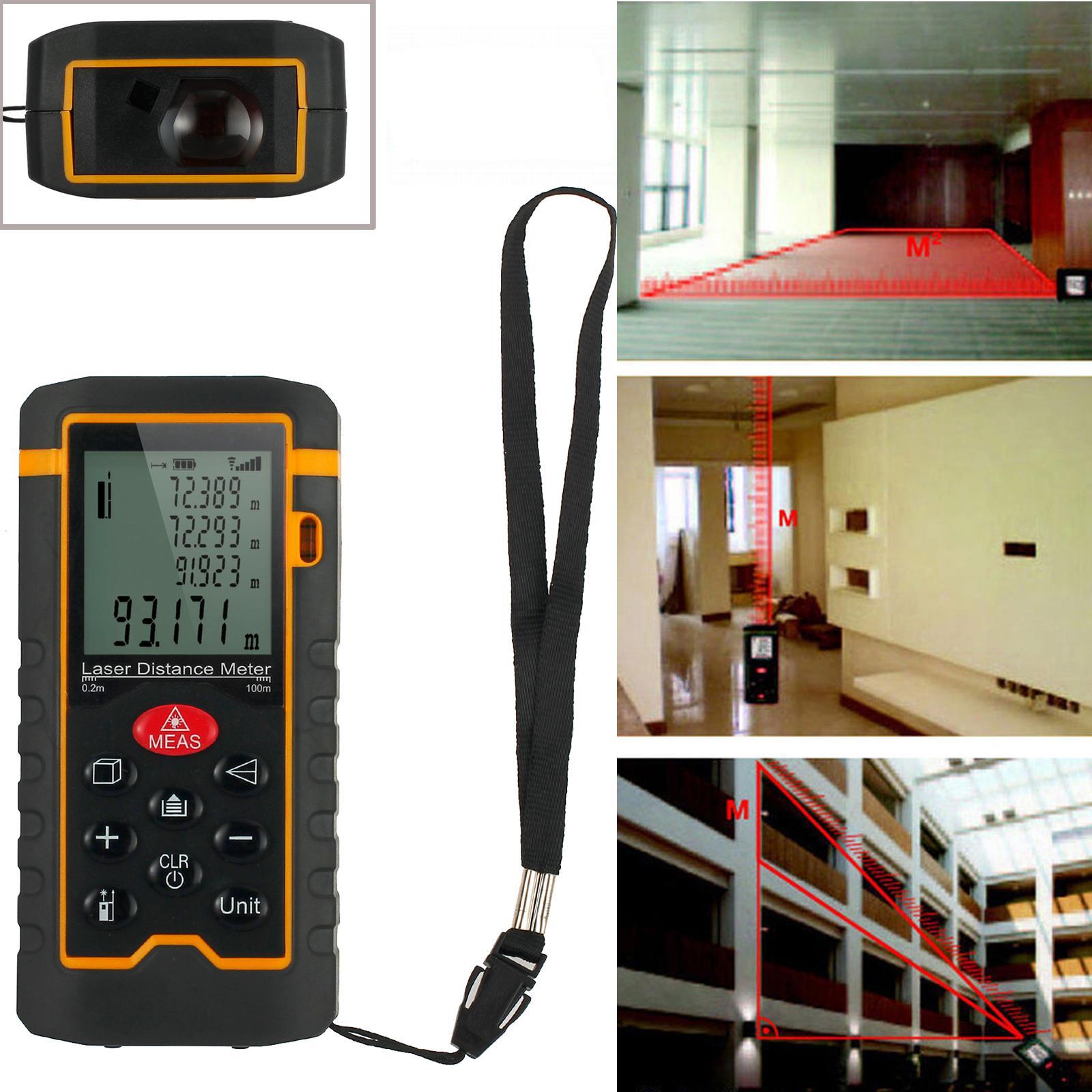 100M Digital Laser Distance Meter Measure Distance, Area, Volume Diastimeter Measure Tape Range Finder