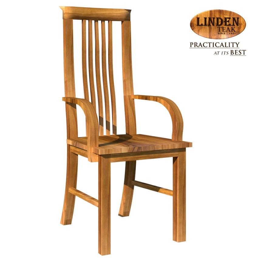 Linden Teak Handcrafted Solid Teak Wood 306 Chair With Arm Furniture (Gold  Teak Series Indoor