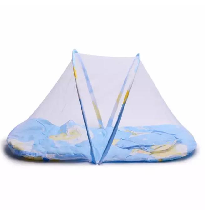Folding Newborn Baby Bed With Pillow Mat Net   Light Blue