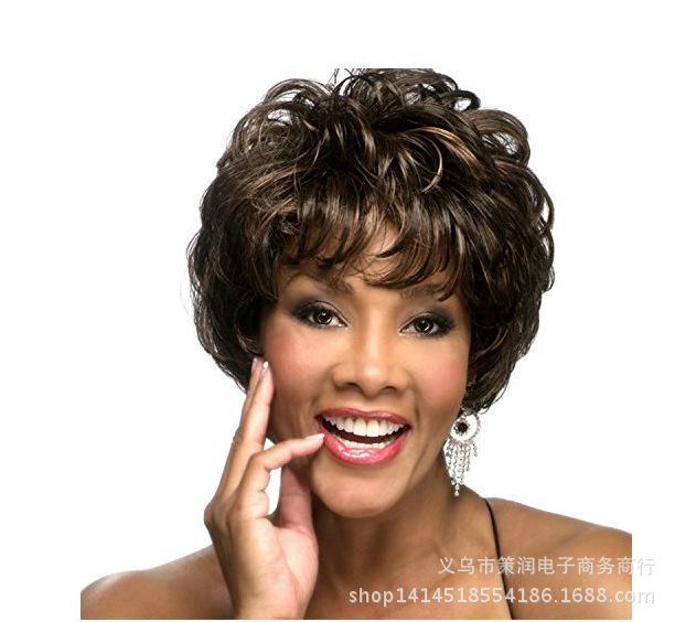 Wig wanita dicukur berbulu alami COS rambut palsu amazon gaya rambut pendek panas