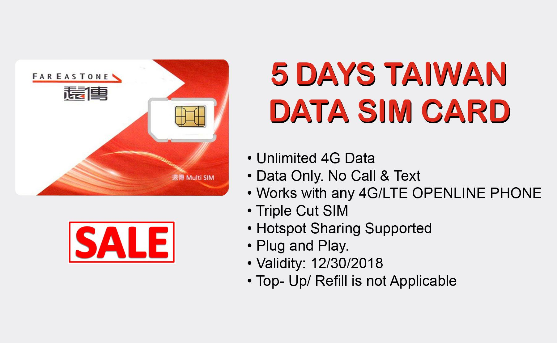 5 Days Taiwan Unlimited Data Sim Card