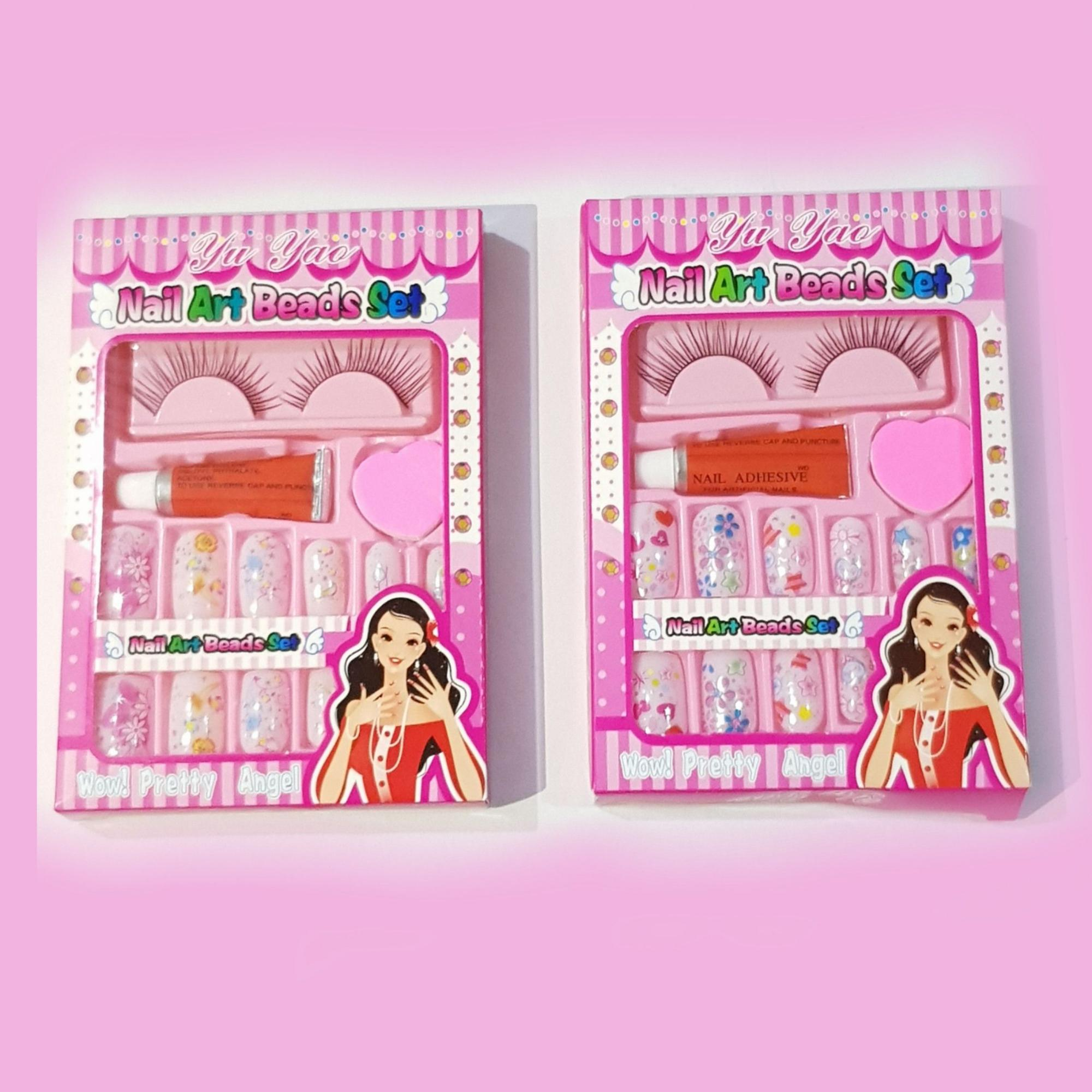 Set of 2s Fake Nail Art set(with Nail Glue & File ) Philippines