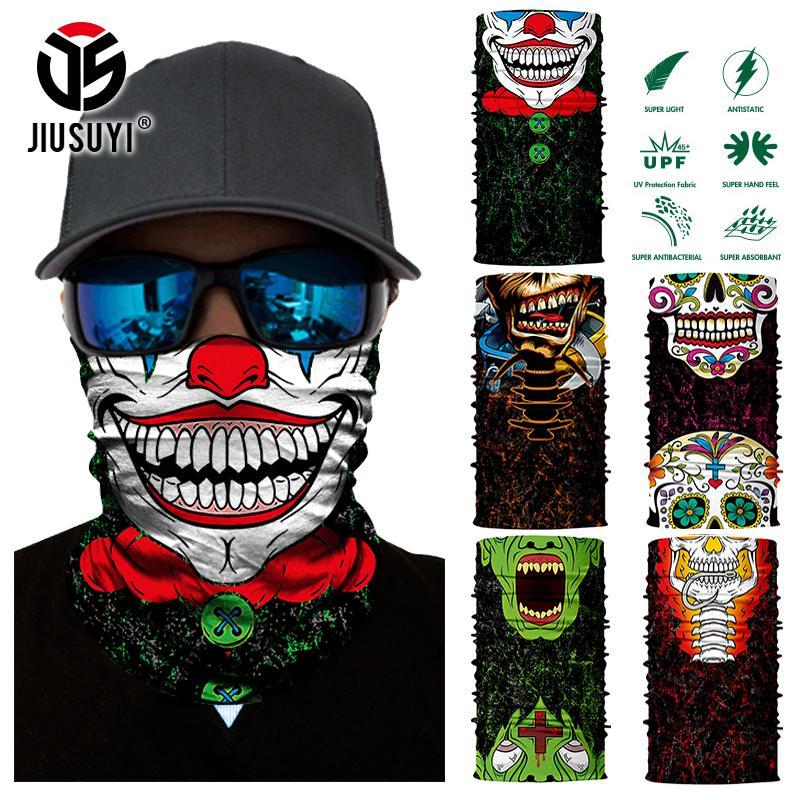 3D Mulus Sihir Bandana Joker Clown Hantu Tengkorak Tabung Leher Lebih Hangat Topeng Wajah Kepala Syal