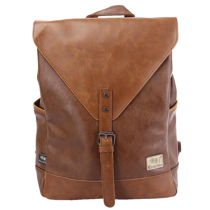 Men Backpack For Teenagers Women PU Leather Bag School Laptop Backpacks  Casual Rucksack 3514 5347f32ae855e
