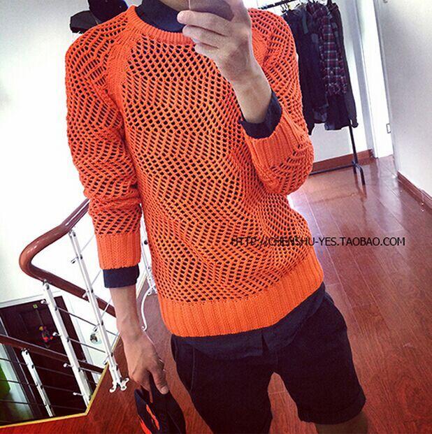 Sweater Gaya Korea Mata Jaring Kemeja Rajut Klub Malam Pria