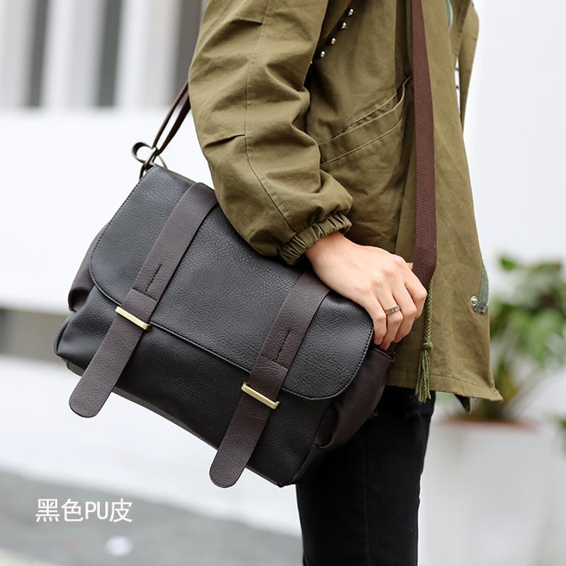 Men s Korean-style casual canvas shoulder bag (Black leather version) (Black  leather efe5248d13d1f