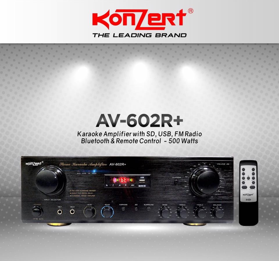 Konzert Av 602r 500w X 2 5 Channel Karaoke Amplifier With Fm Radio Watt Product Details Of Usb And Sd Port Bluetooth Remote Control