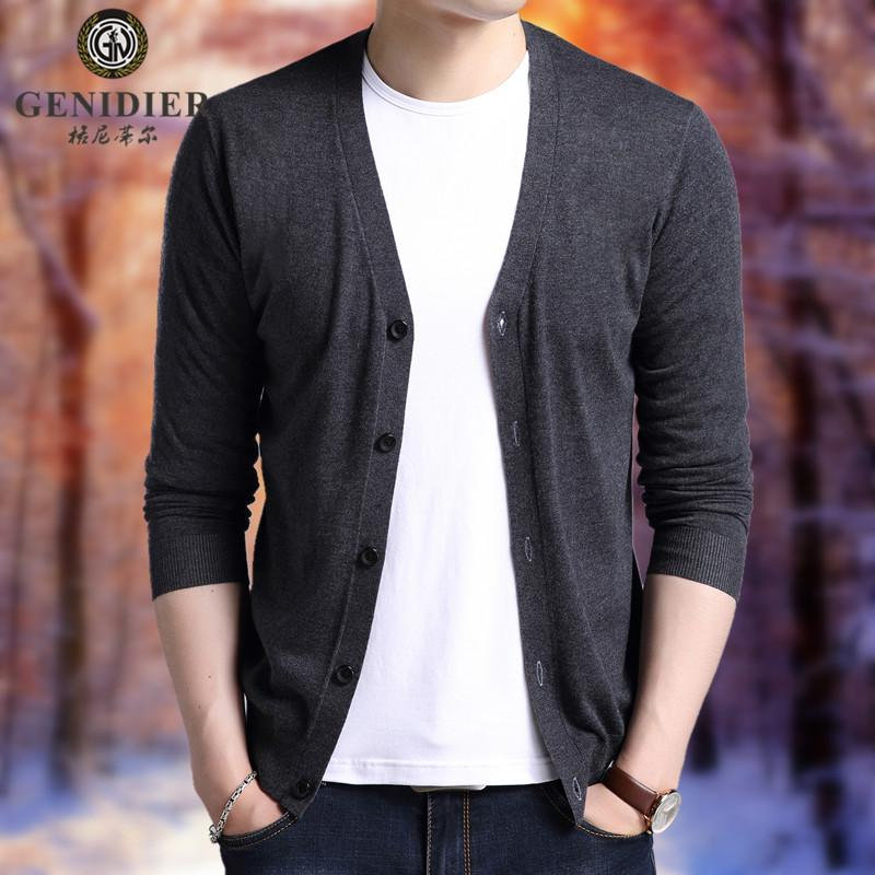 fc8b24afea25 Young And Middle-aged Men s Knitwear Long-sleeved Cardigan Autumn Korean  Style Slim Fit
