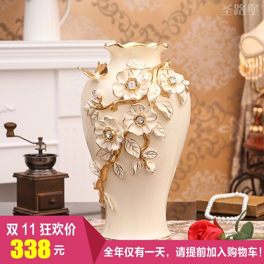 St. Fort European Style Ceramic Dried Flower Vase Decoration Living Room Flower Arrangement Decoration 58 Accessories Porcelain Decoration Big Vase