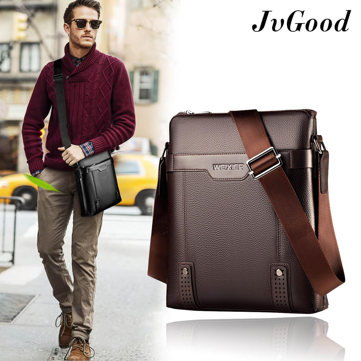 a75dad947 JvGood Messenger Bag PU Leather Men Bag Sling Shoulder Crossbody Bag Casual  Business Men Fashion