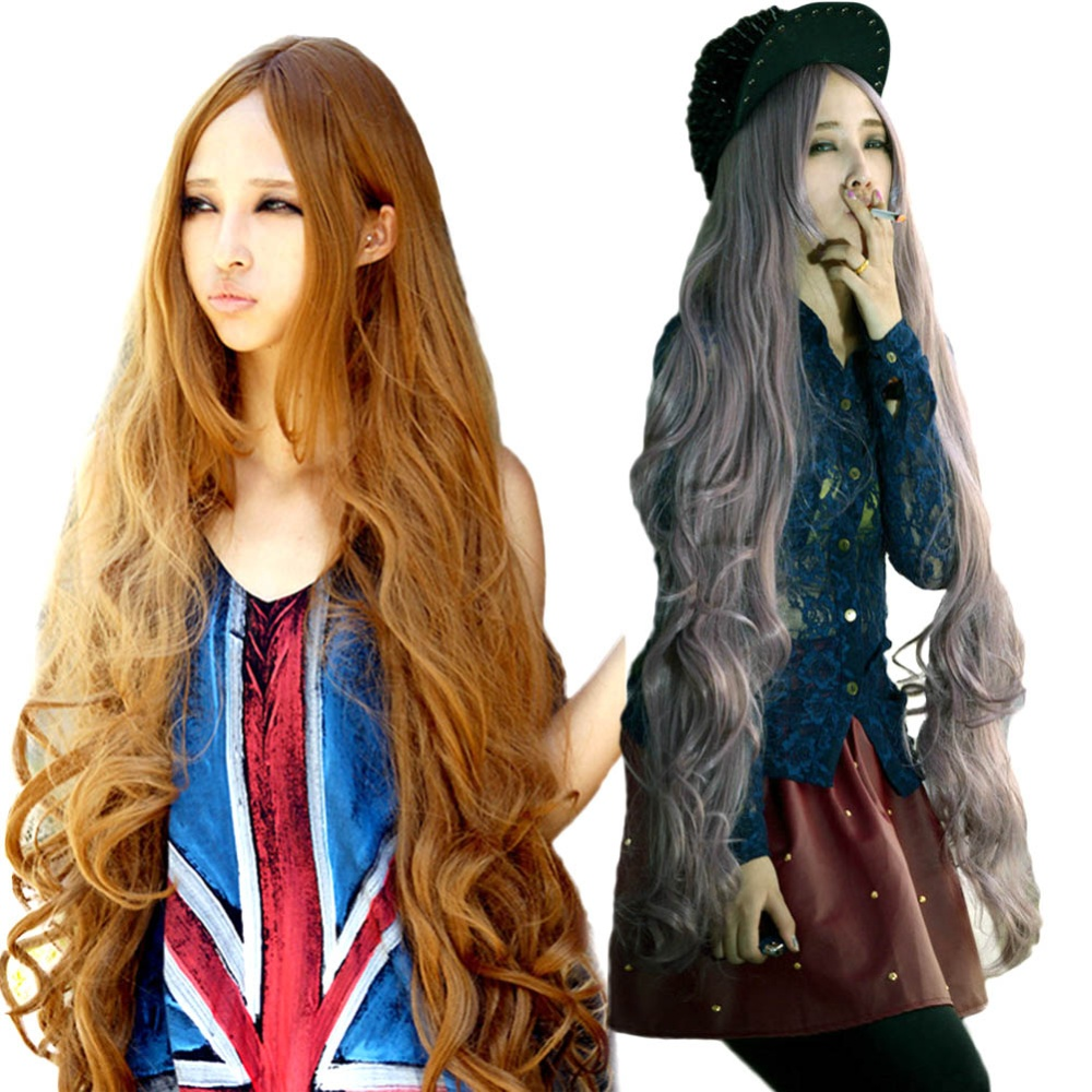 Length: Long Wigs Type: Cosplay Wigs Cap Size: Medium Style: Curly, European American wig type: cosplay wigsparty wigs,natural wig length: 100cm use: female ...