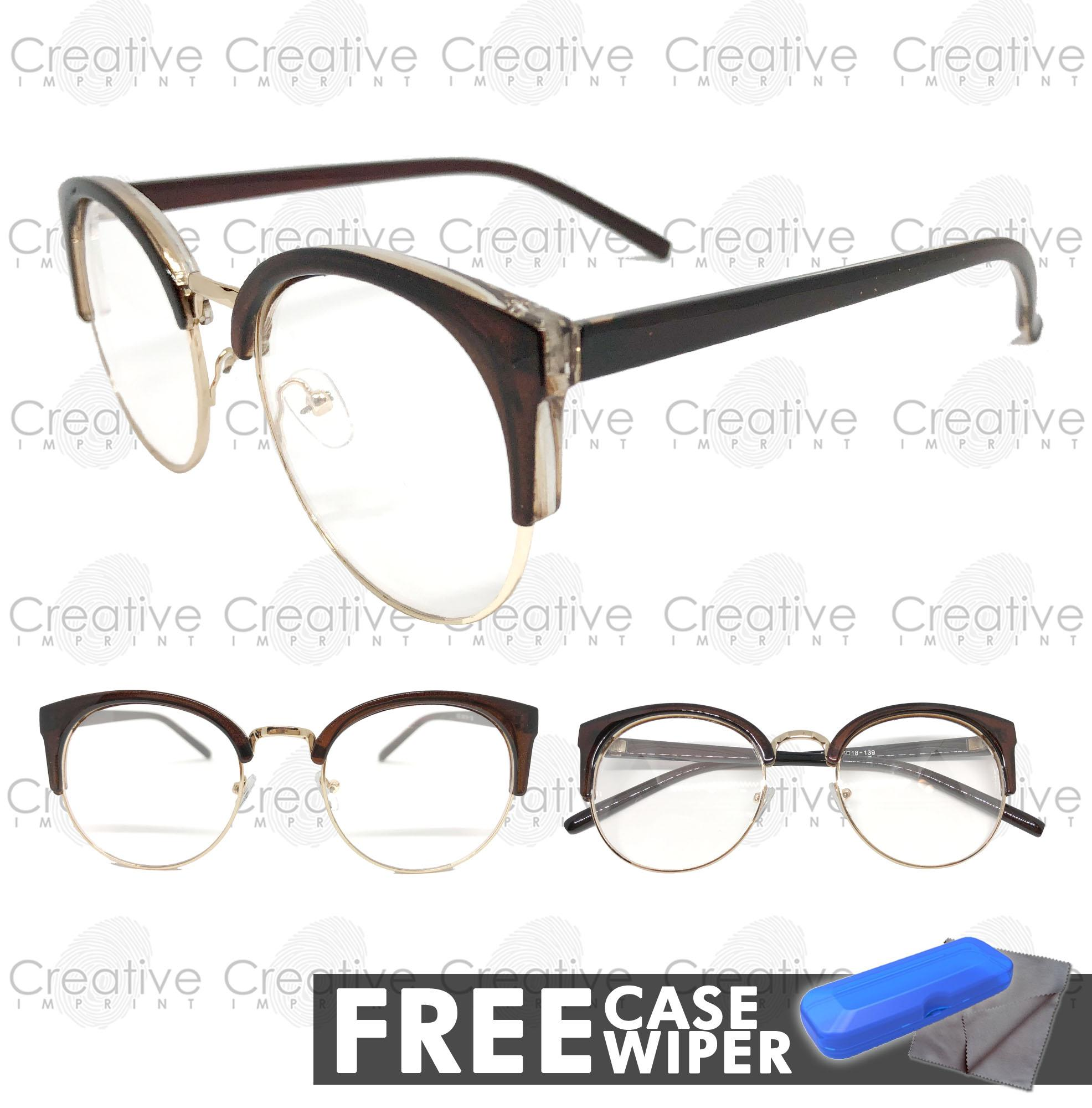 d4527fdb64 Creative Imprint Eyeglasses Replaceable Lens (Clubmaster 02 Brown Gold)  Premium High Quality Specs Metal Korean
