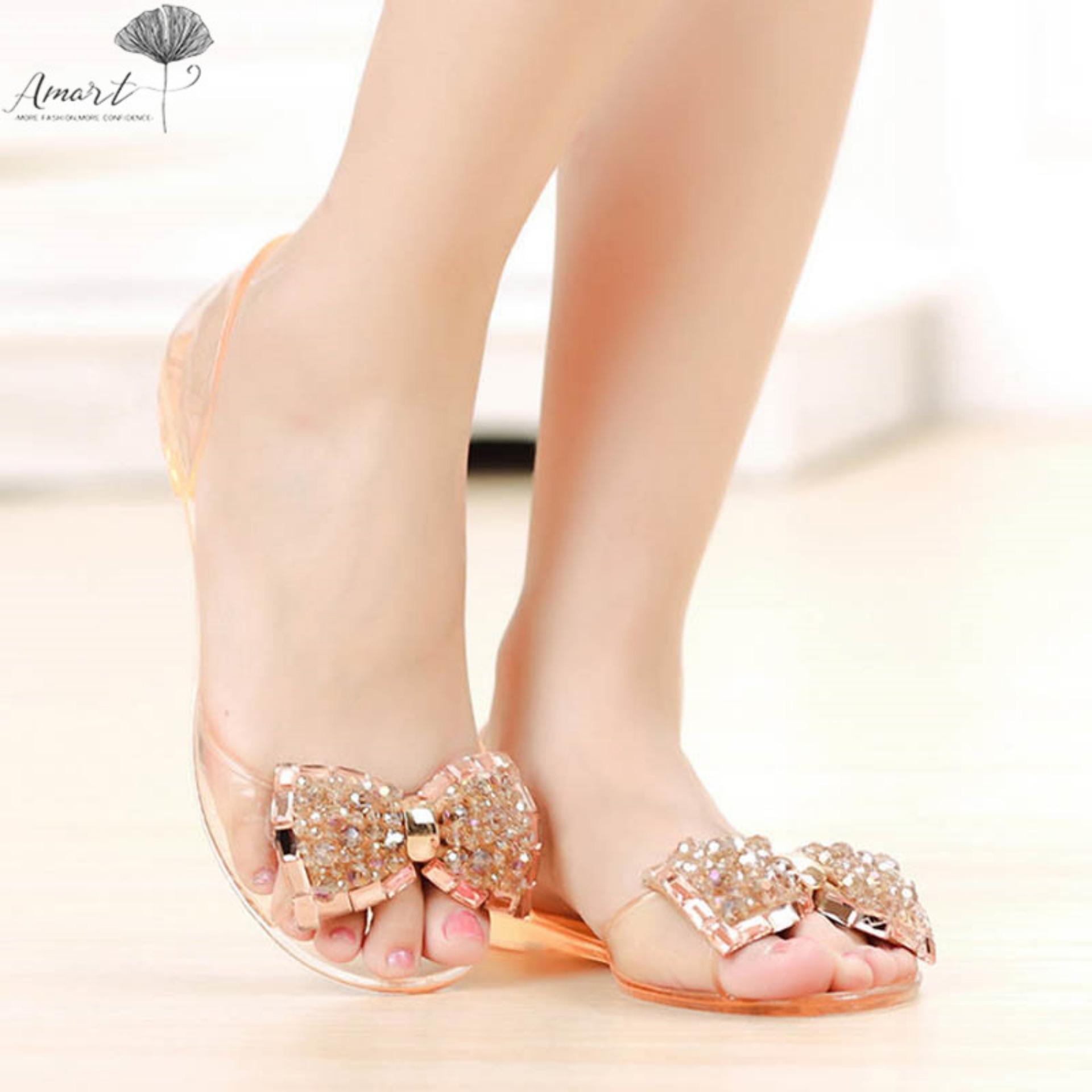 Flat Sandals For Women Sale Summer Online Brands Lady Jelly Shoes Sepatu Sendal Wanita Amart Woman Bow Crystal Sexy Open Toe Beach