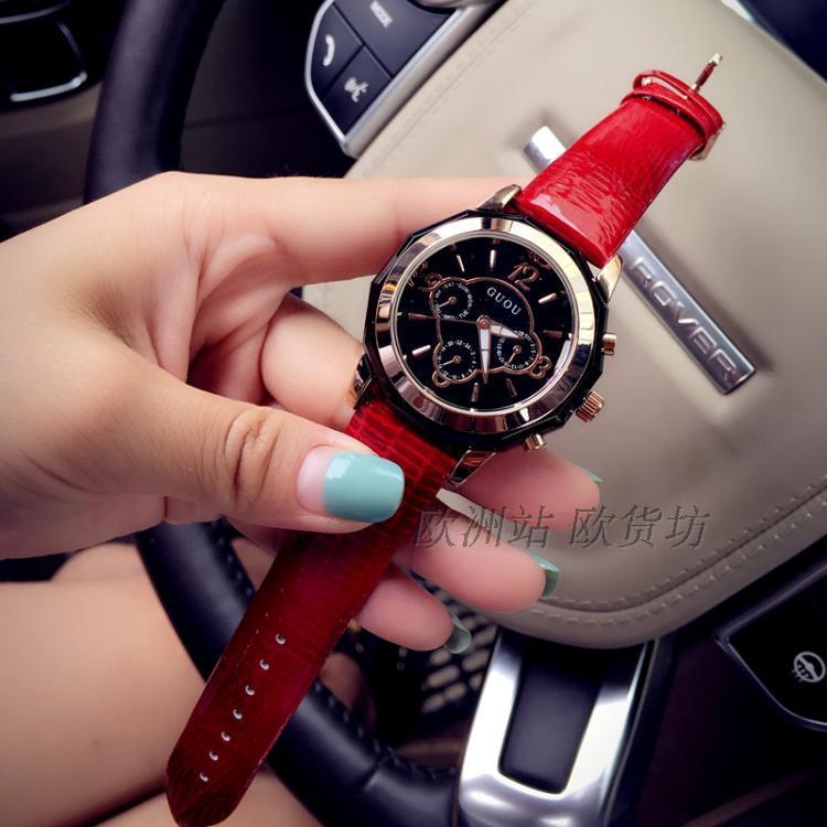 Europe Station versi Eropa model baru Kalender jam tangan wanita Tren jam tangan QUARTZ Jam Tangan Tahan Air jam tangan kasual Jam tangan cantik