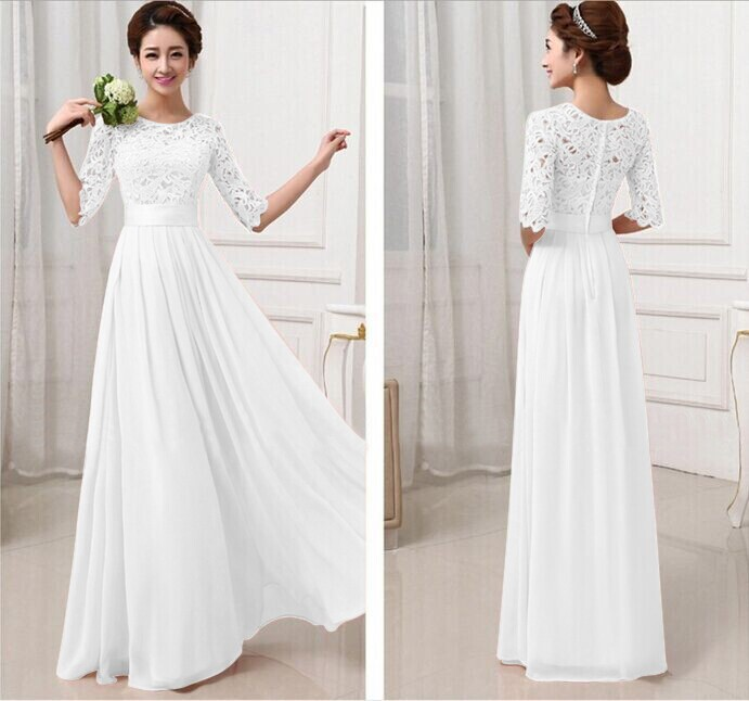 Product Details Of Women Crochet Lace 1 2 Sleeve Tunic Bridesmaid Formal Gown Party Maxi Chiffon Long Dress White Intl