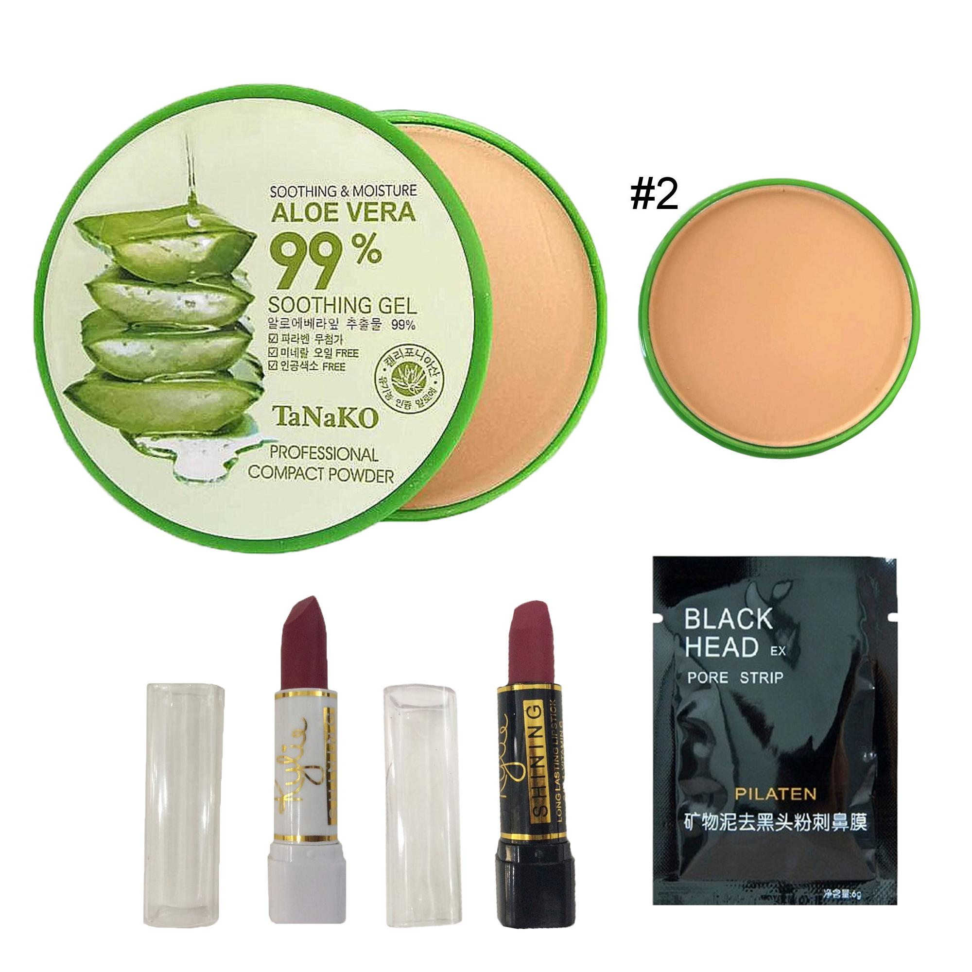 MAKEUP BUNDLE 99% Aloe Vera Soothing & Moisture Compact Powder #02 12g + 2 Pcs, Lipstick FREE 1 Sachet Pilaten Philippines