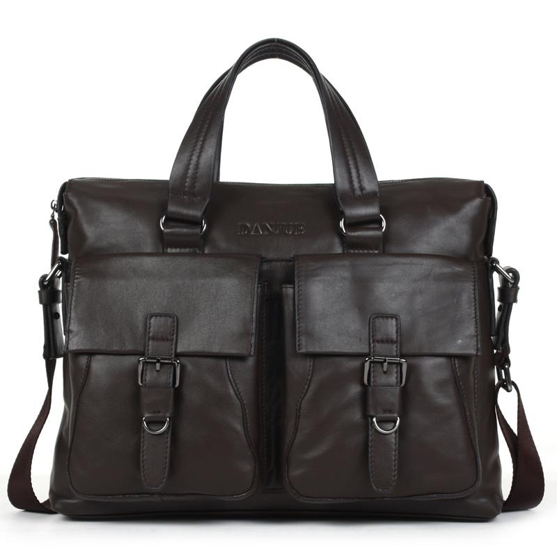 OEM Danjue Pria Bisnis Tas Kantor Kulit Asli Laki-laki Berkapasitas Besar Tas Tangan Tas Mode Pria Double Bag Tas Selempang Pria (Moka)